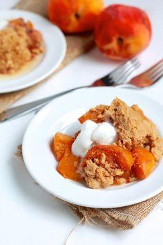 Coconut Peach Cobbler -- vegan, gluten-free, slow cooker