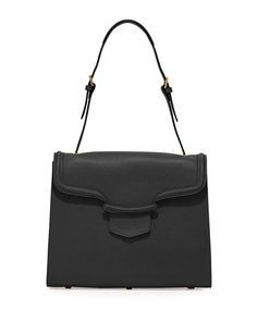 V1ZUW Alexander McQueen Heroine Flap Shoulder Bag, Black