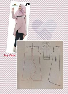 Discover thousands of images about sewing pattern Sewing Paterns, Dress Sewing Patterns, Blouse Patterns, Sewing Patterns Free, Clothing Patterns, Blouse Designs, Abaya Pattern, Blouse Batik, Sewing Blouses