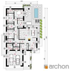 gotowy projekt Dom w araukariach rzut parteru Model House Plan, 4 Bedroom House Plans, Planer, Bungalow, My House, Sweet Home, Floor Plans, Layout, House Design