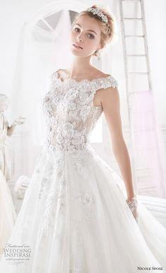 nicole spose 2018 bridal cap sleeves bateau neck full heavily embellished bodice romantic a line wedding dress sheer lace back chapel train (2) zv
