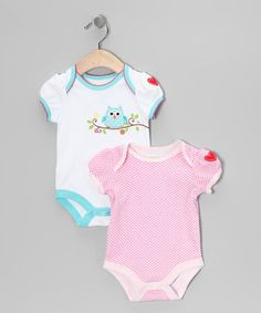 Take a look at this Pink & Turquoise Owl Bodysuit Set by Happi by Dena on #zulily today!