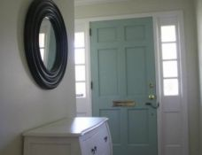 BM Wythe Blue & SW Natural Choice door color for kitchen walls Kitchen Wall Colors, Kitchen Walls, Wyeth Blue, Tan Paint Colors, House Exteriors, Front Entry, Benjamin Moore, Foyer, Sweet Home
