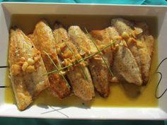 Lubina (O dorada) al ajo-limón cocina tradicional