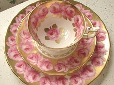 Antique pink roses tea cup trio, vintage Royal Chelsea pink and gold tea cup…