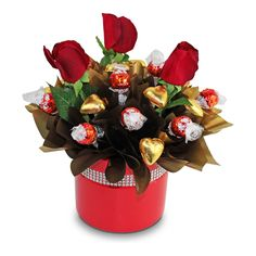Lindts, Hearts, Roses Chocolate Gift Bouquet - Delivery Sydney