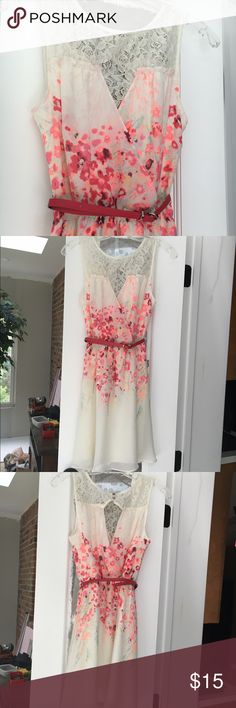 Candies size small floral dress with belt! Super cute dress for spring, summer, weddings, and more! Comes with belt. Very good condition. Peach and red flowers and lace on top Candie's Dresses Midi