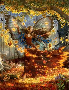 Fall Fairy Greeting Card Woodland Fairy, Forest Fairy, Fairy Land, Fairy Tales, Deep Forest, Fantasy Kunst, Fantasy Art, Decoupage, Fairy Wallpaper