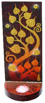 """Painting, Bodhi Tree with Candle (12"""")...Tranquility and protection in your home...Hand-painted by our friend Narong in N. Thailand (see artist photo)...Painted on antique shingles from the roofs of Thai Temples. ($68) http://floatinglotus.net/Painting-Bodhi-Tree-w-Candle-Painting-Bodhi-Tree-w-Candle_p322.htm"""