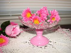 Romantic Candle Holder & Candy Dish, Federal Petal Pattern, Pressed Glass, Crystal Trinket Dish, French Cottage, Pink Decorations