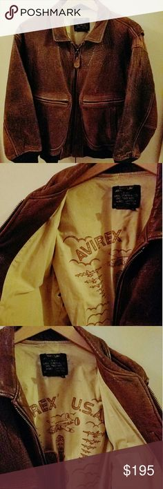 Avirex leather Bomber jacket (vintage) Circa 1987 Avirex Bomber jacket. Great shape, amazing aging on the leather.  I have one from the 90's that fits me better. That's the only reason I'm selling. Avirex  Jackets & Coats Bomber & Varsity