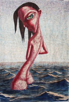Mujer en el mar. Tintas y lejia sobre papel. 2016