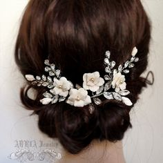 Flower Rhinestone Wedding Hair Vine, Bridal Hair Comb Hair Accessories , Romantic Pearls Leaves Floral Hair Comb Side Tiara