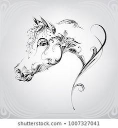 Horse Head Drawing, Horse Drawings, Animal Drawings, Art Drawings, Horse Tattoo Design, Clock Tattoo Design, 1 Tattoo, Body Art Tattoos, Tattoo Caballo