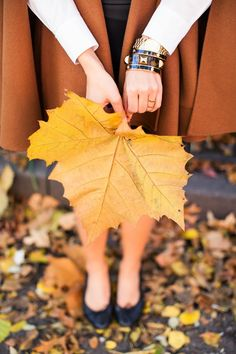 Beautiful gold accessories...perfect for fall! From I love the modern/bohemian feel of this Brass Bangle Bracelet! From http://withlovefromkat.com/2013/11/brown-cape.html