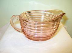 depression glassware | Depression Glass Pink Creamer Manhattan Pattern from robbiaantique on ...