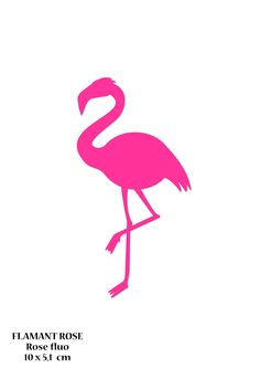 Motif Flamant rose 10 cm en Flex thermocollant rose fluo - Applique à repasser personnalisable : Déco, Customisation Textile par magicflex