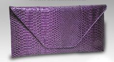 Large Snakeskin Clutch-Purple · Sophisticates Handbags