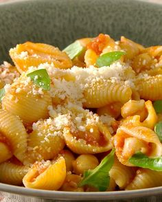 Pasta with Chickpea-Tomato Sauce: A protein-rich, homemade tomato sauce tossed with pasta shells makes for a quick and easy dinner.