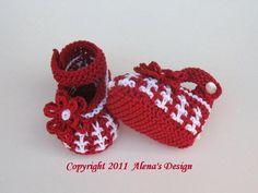 Knit Red Baby Shoes | Craftsy