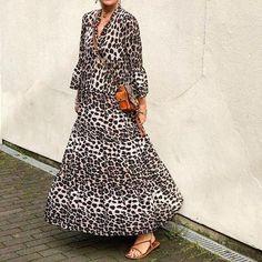 Ankle-Length V-Neck Three-Quarter Sleeve Pullover High Waist Dress Floral Print Maxi Dress, Boho Dress, Fall Dresses, Casual Dresses, Floryday Vestidos, Elegant Party Dresses, Leopard Dress, Short Sleeve Dresses, Long Sleeve