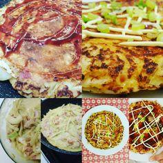 Okonomiyakiiiiiiiii #okonomiyaki #uova #cavolocinese #cavolocappuccio #farina #maionese #soia #ketchup #gamberoni #bacon #sale #pepe #cipollotto #butterisnewblack