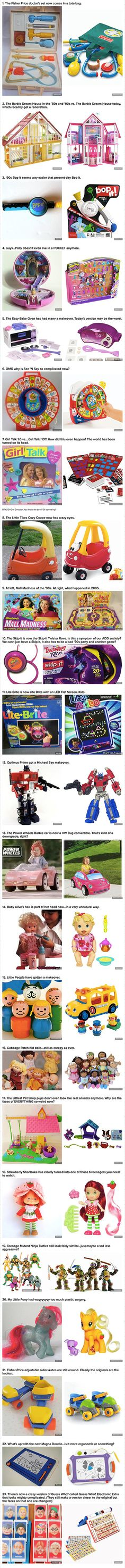 Here are some popular toys from your childhood: Then vs. Now.i had all of the toys on the left... I had a few of the ones on the right also. Lol