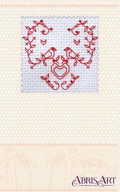 Cross stitch kit Postcard Do it yourself Lovely birds by AbrisA