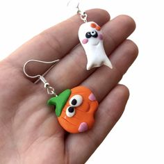 Halloween Pumpkin Earrings / Halloween Ghost Earrings / | Etsy Halloween Ghosts, Halloween Pumpkins, Handmade Shop, Handmade Jewelry, Handmade Gifts, Shopping Mall, Happy Shopping, Etsy Jewelry, Jewelry Accessories