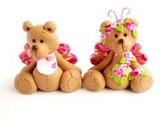 *POLYMER CLAY ~ Wedding topper bears SALE.