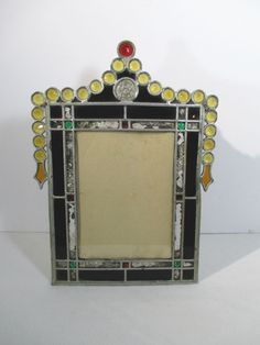 1c77812f5408 Masonic Coin Picture Frame Stained Beveled Glass Primitive Style Hand Made 6