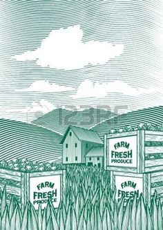 vegetable garden: Woodcut style illustration of vegetable crates sitting on the ground with a barn in the background.