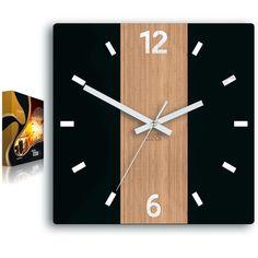 Black clock with bamboo Primo silent clock with white Wall Clock Wooden, Wood Clocks, Clock Art, Diy Clock, Homemade Clocks, Geometric Shelves, Black Clocks, Mechanical Clock, Wall Clock Design