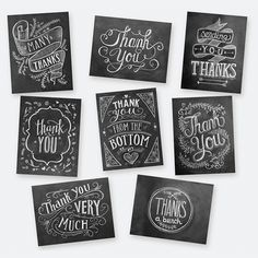 Set of 8 Assorted Thank You Cards - A2 Note Cards