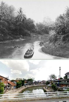 Rivier in Kramat te Batavia, ca 1880, ,., Sungai Ciliwung di daerah jl Kramat, Jakarta,  2015