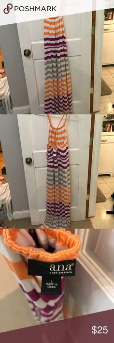 Ana Large Striped Maxi Dress ❤️❤️⭐️⭐️ This Maxi Dress has only been worn once! It's a medium weight so a great transition piece to style with a denim jacket for fall. ❤️❤️💙💙⭐️⭐️🌷🌸 Ana Dresses Maxi