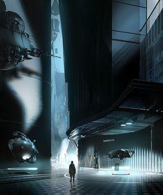 sci-fi. cool blue interior technology