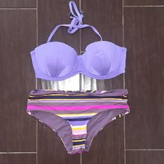 H&M bikini Cute purple tie halter top (34D). This is for the top and bottom. Bottoms are a medium. H&M Swim Bikinis