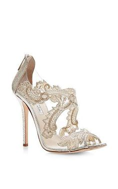Oscar de la Renta - Ambria Metallic Leather Lace Sandals