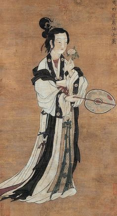 Lady with a fan by Zhou Fang or Zhang Xuan, Tang Dynasty China