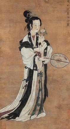 Lady with a fan by Zhou Fang orZhang Xuan,Tang Dynasty China