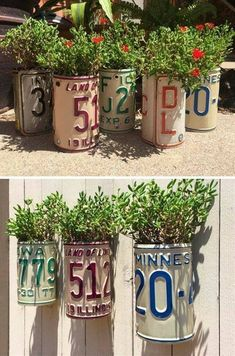13 Amazing Decor Ideas Using Old License Plates - Decoration Fireplace Garden art ideas Home accessories License Plate Crafts, Old License Plates, License Plate Art, License Plate Ideas, Licence Plates, Garden Crafts, Garden Projects, Diy Projects, Diy Crafts