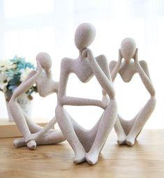 Resin Sculpture, Pottery Sculpture, Wall Sculptures, Sculpture Ideas, Modern Art Sculpture, Polymer Clay Sculptures, Thinking Man Statue, Statues, Canvas Wall Art