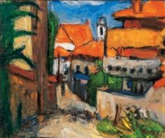 Street in Southern France - Bela Czobel Southern France, Post Impressionism, Art Database, City Art, Cubism, Eastern Europe, Brush Strokes, Painting Art, Paintings