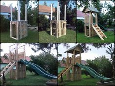 For my little son. A playhouse with toboggan made from upcycled wooden pallets. Based on my own idea.