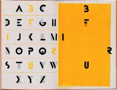 A. M. Cassandre, Bifur typeface, 1929. Strokes from each letter are omitted; a linear shaded area restores the basic silhouette. (Source: Meggs History of Graphic Design)