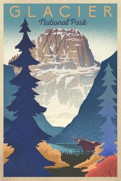 Items similar to Glacier National Park - Mountain Scene - Lithograph (Art Prints, Wood & Metal Signs, Canvas, Tote Bag, Towel) on Etsy Vintage National Park Posters, Glacier National Park Montana, Glacier Park, Park Art, Poster Prints, Art Prints, Free Canvas, Vintage Travel Posters, Poster Vintage