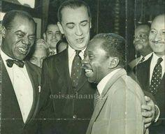 Louis Armstrong, Juscelino Kubitscheck e Grande Otelo com Pixinguinha (ao fundo), em 1957.