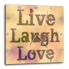 3dRose Stained Glass Peach Live, Laugh, Love- Inspirational Words- Motivational - Wall Clock,   I love to have inspirational home décor all over my home as it makes my home feel happy, peaceful and relaxing.  For this reason, I adore live laugh love home décor.  These beautiful and trendy home decorative accents provide inspiration and motivation.  I love the fact you can you live laugh love wall clocks, live laugh love accent pillows and some live laugh love wall art to make your life more