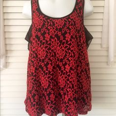 Lace Bow Top Size L - Purple Snow - red and black lace top - beautiful bow back - perfect for Valentine's Day Purple Snow Tops Tank Tops